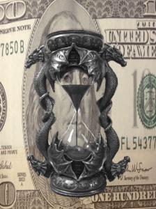 Horglass Hundred dollar bill dragon hourglass
