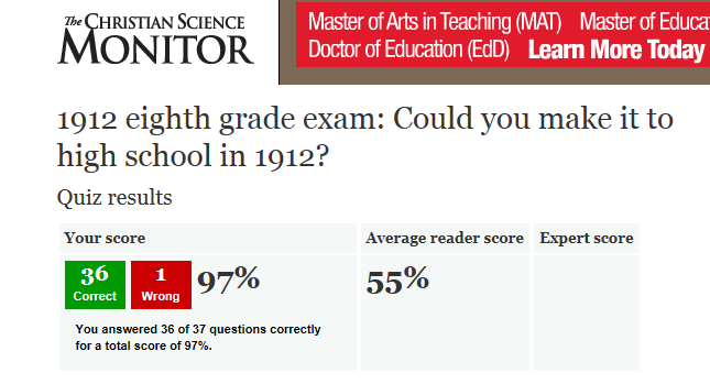 1912 8th Grade Exam- Fail Means No High School For You!