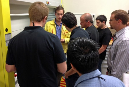 Machining Application Engineer Grant Hughson  discusses Sandvik Coromant Swiss tooling  options with attendees