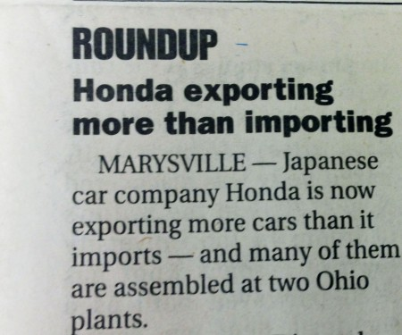 "American Honda is a ""New Domestic"" company and is now exporting more than it imports."