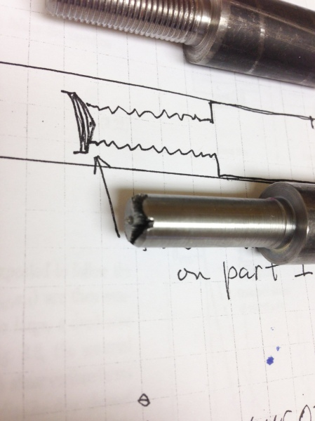 on this part the central burst or chevron was encountered at the threaded end of the part.