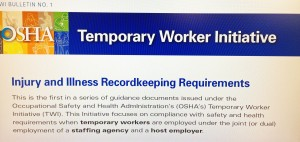 According to OSHA Release, injuries to Temporary workers go on the host employers, not the Temp Agency's OSHA 300.