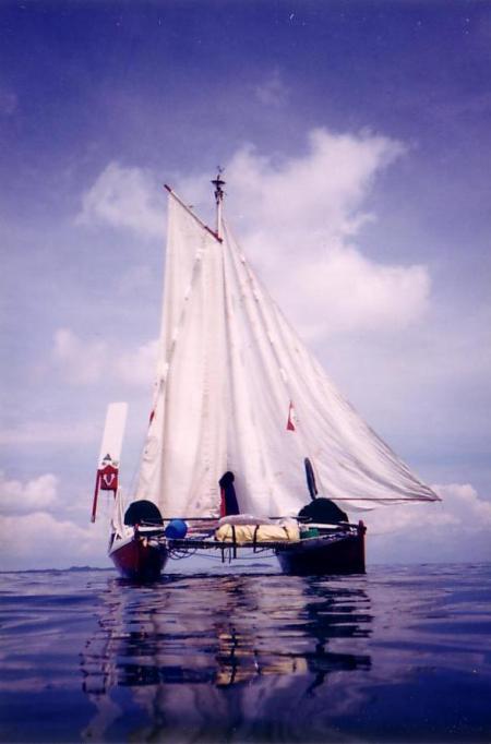 Becalmed saiboat. Doldrums