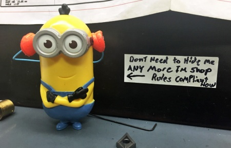 Minion wearing PPE including Hearing Protection
