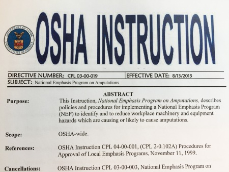 OSHA Natiomnal Emphasis Program on Amputations 2015