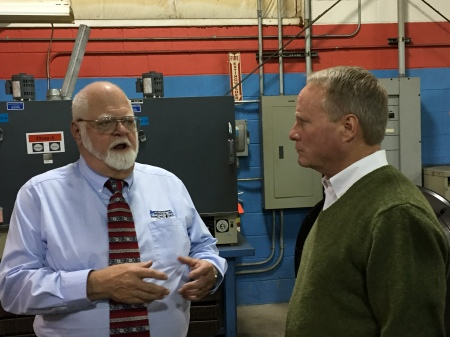 CEO John Stoneback and Congressman David Joyce in the Shop at JM Performance Products, Inc.
